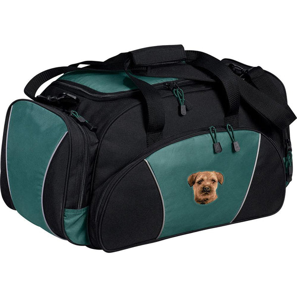 Embroidered Duffel Bags Hunter Green  Border Terrier D51