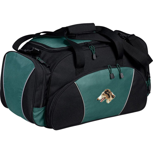 Embroidered Duffel Bags Hunter Green  Borzoi D43