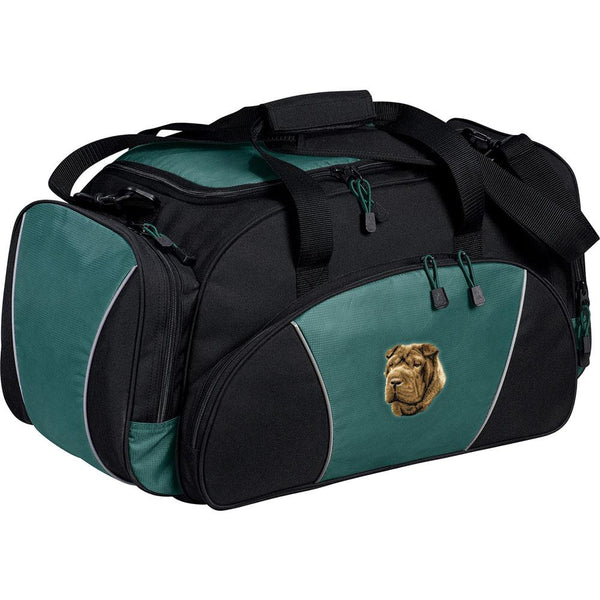 Embroidered Duffel Bags Hunter Green  Chinese Shar Pei D45