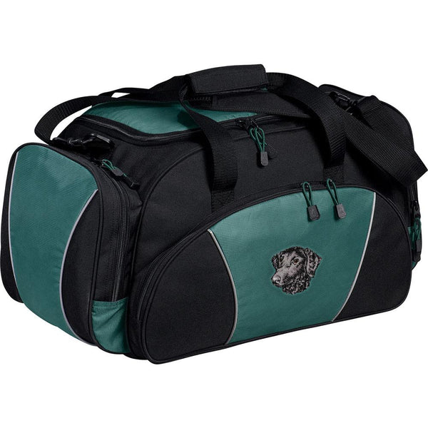 Embroidered Duffel Bags Hunter Green  Curly Coated Retriever D137
