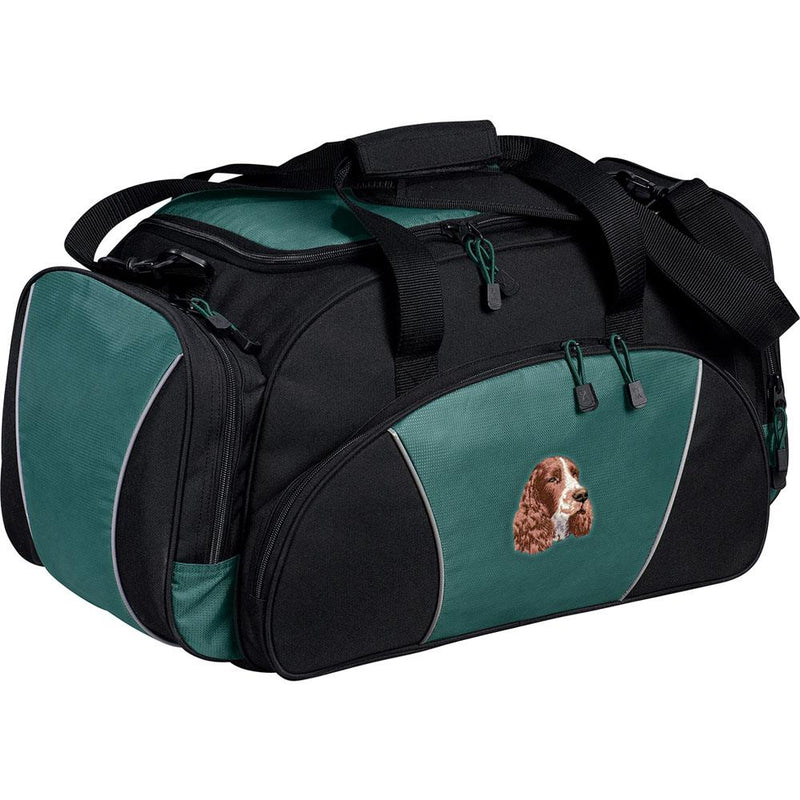 Embroidered Duffel Bags Hunter Green  English Springer Spaniel D130