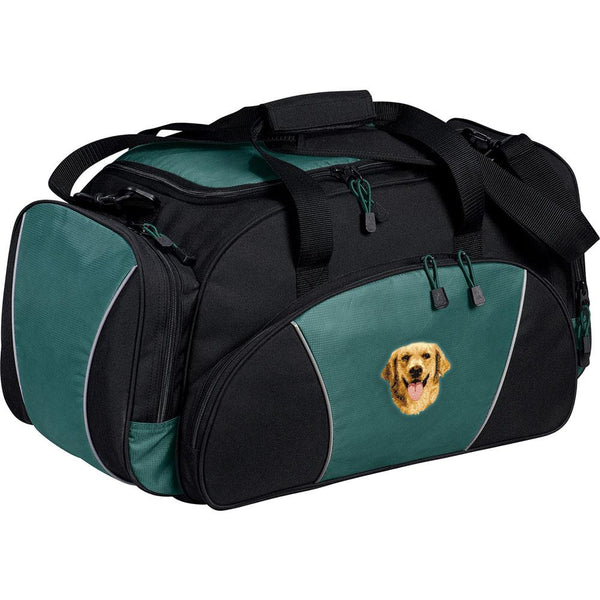 Embroidered Duffel Bags Hunter Green  Golden Retriever D5