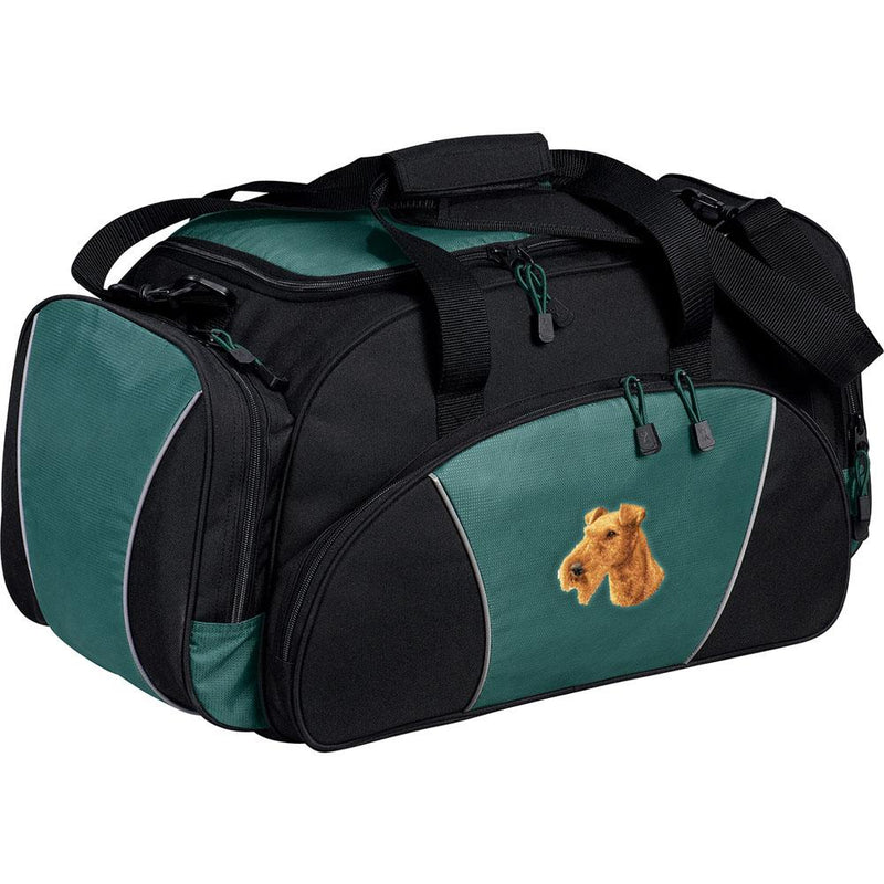 Embroidered Duffel Bags Hunter Green  Irish Terrier D89