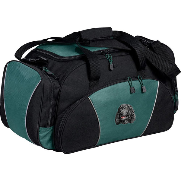 Embroidered Duffel Bags Hunter Green  Irish Water Spaniel D145