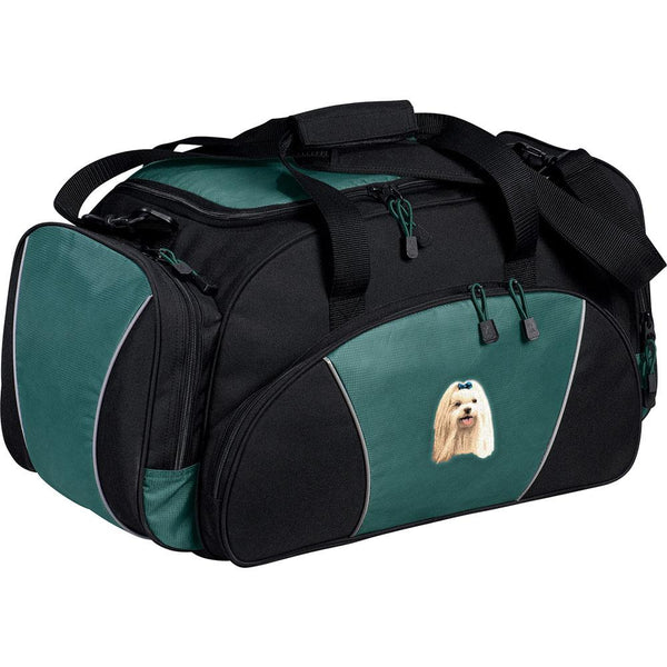 Embroidered Duffel Bags Hunter Green  Maltese D64