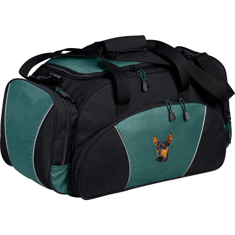 Embroidered Duffel Bags Hunter Green  Miniature Pinscher D22