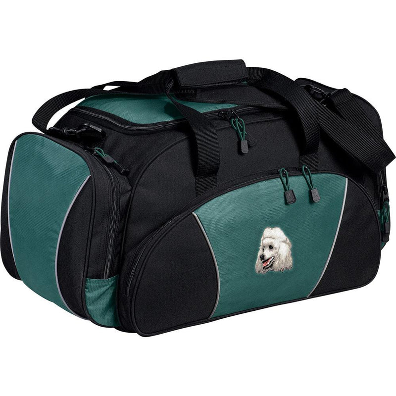 Embroidered Duffel Bags Hunter Green  Poodle D18