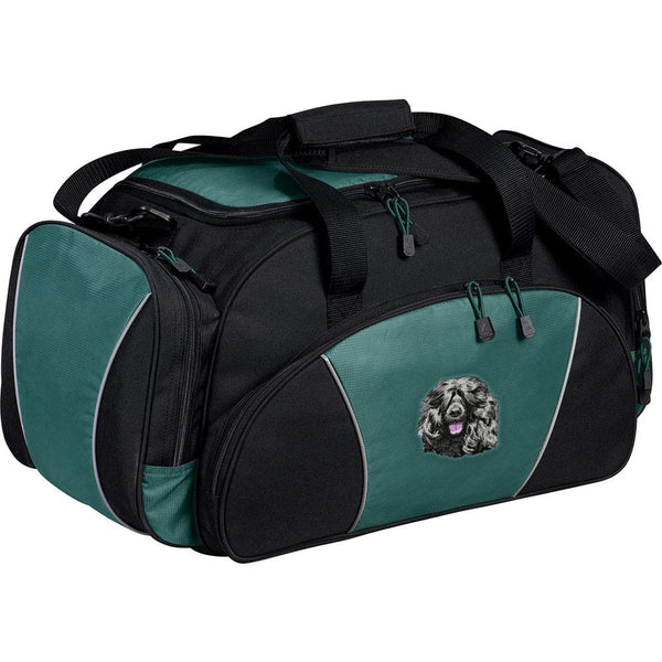 Embroidered Duffel Bags Hunter Green  Portuguese Water Dog DM452