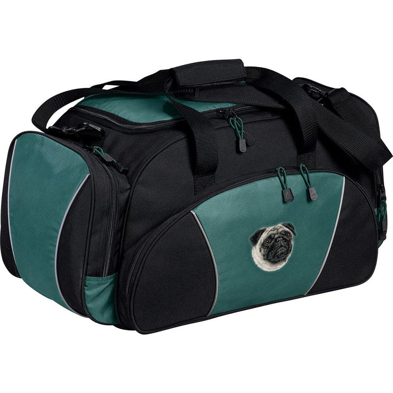 Embroidered Duffel Bags Hunter Green  Pug D63