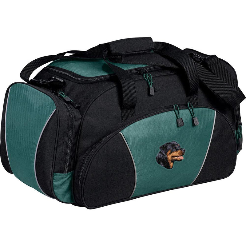 Embroidered Duffel Bags Hunter Green  Rottweiler D7