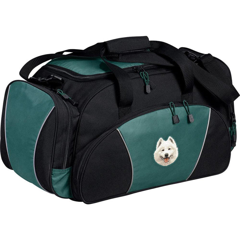 Embroidered Duffel Bags Hunter Green  Samoyed D62