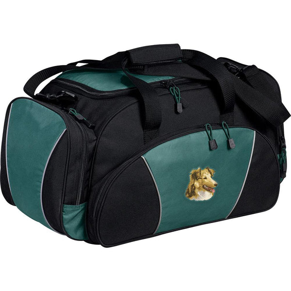 Embroidered Duffel Bags Hunter Green  Shetland Sheepdog D84