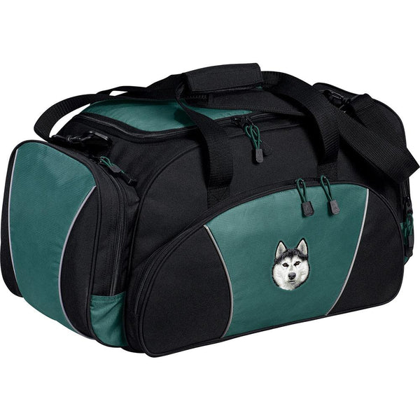 Embroidered Duffel Bags Hunter Green  Siberian Husky D121