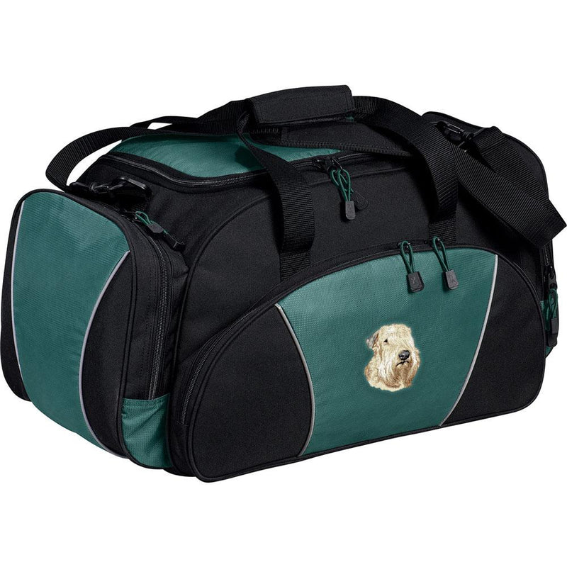 Embroidered Duffel Bags Hunter Green  Soft Coated Wheaten Terrier D147