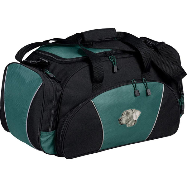 Embroidered Duffel Bags Hunter Green  Weimaraner DM339