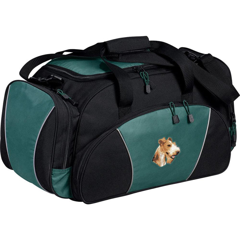 Embroidered Duffel Bags Hunter Green  Wire Fox Terrier D107