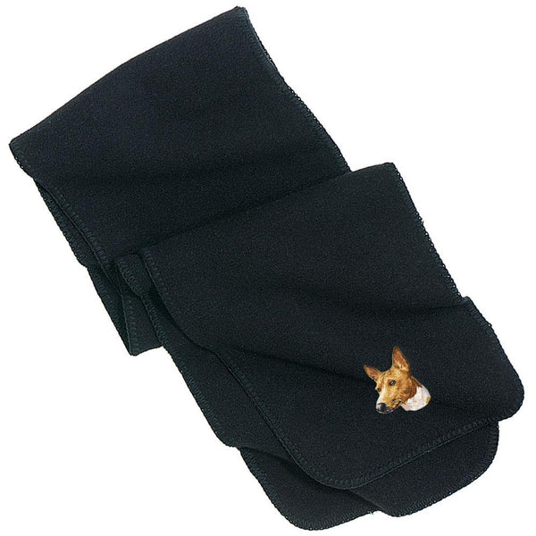 Embroidered Scarves Black  Basenji DM171