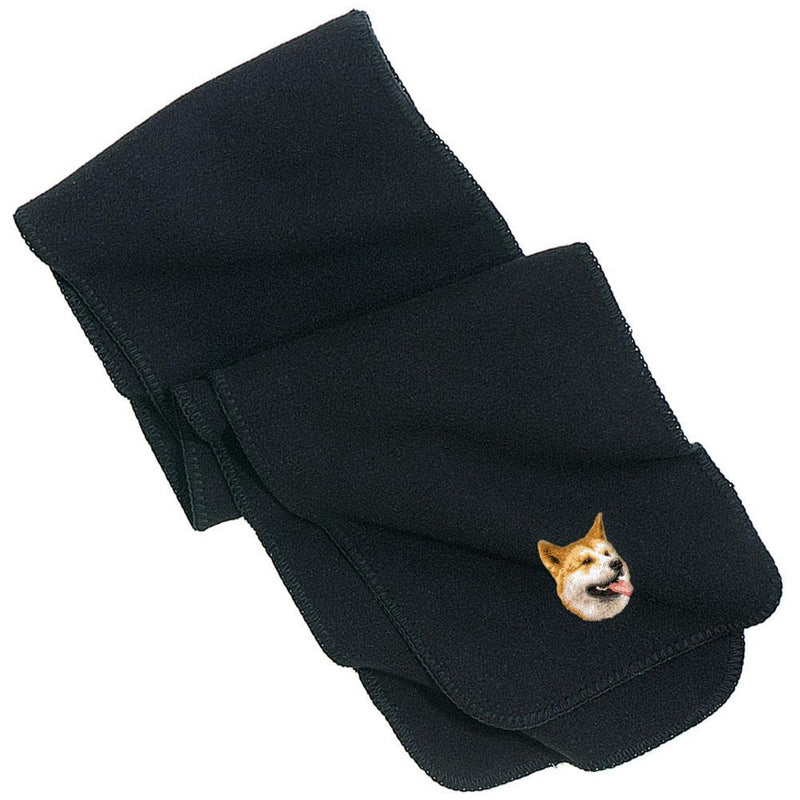Embroidered Scarves Black  Shiba Inu D91