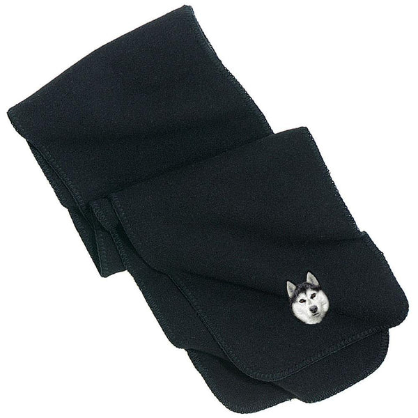 Embroidered Scarves Black  Siberian Husky D121