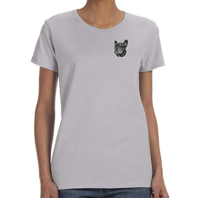 French Bulldog Embroidered Ladies T-Shirts