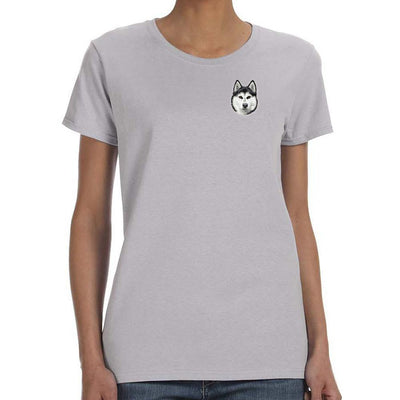 Siberian Husky Embroidered Ladies T-Shirts