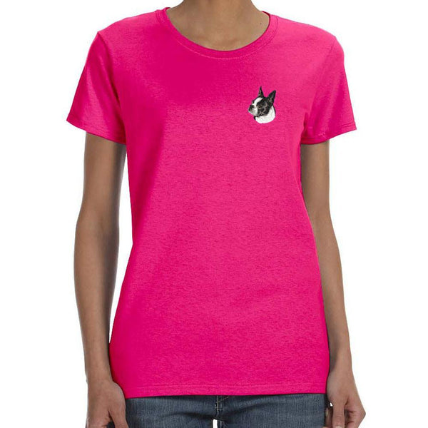 Embroidered Ladies T-Shirts Hot Pink 3X Large Boston Terrier D50