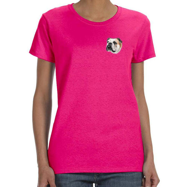 Embroidered Ladies T-Shirts Hot Pink 3X Large Bulldog D59