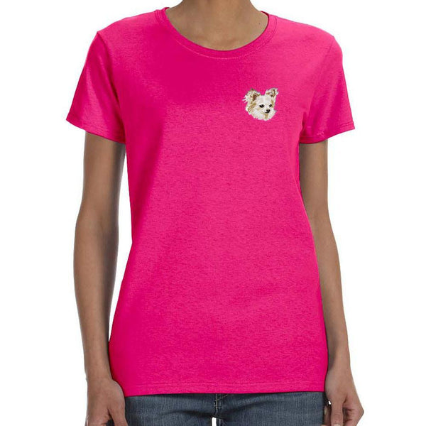 Embroidered Ladies T-Shirts Hot Pink 3X Large Chihuahua DV206