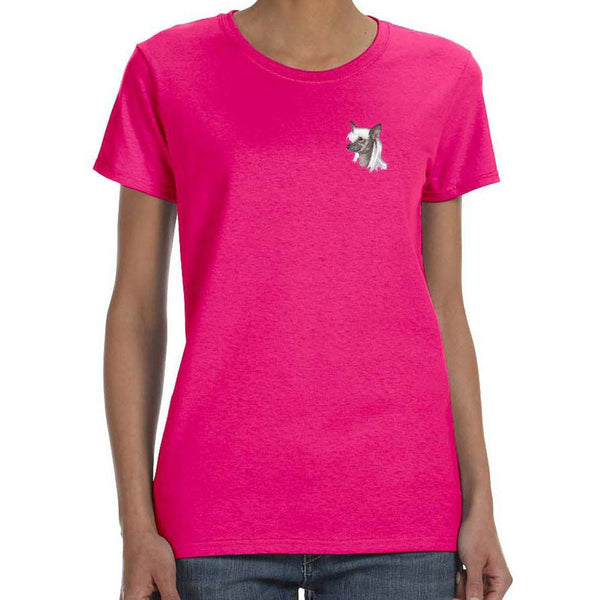 Embroidered Ladies T-Shirts Hot Pink 3X Large Chinese Crested D140