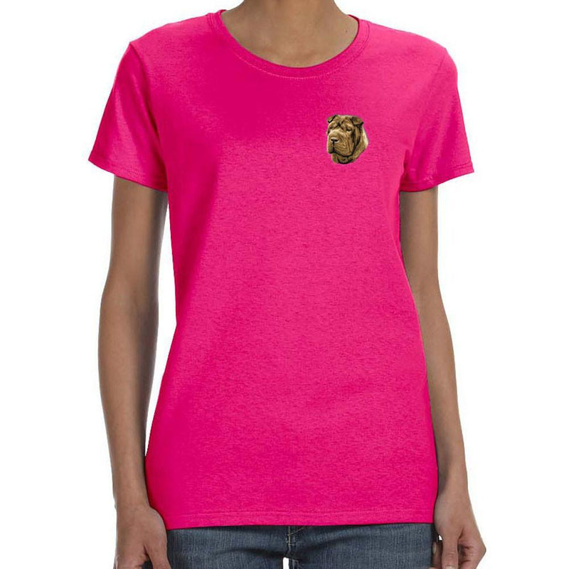 Embroidered Ladies T-Shirts Hot Pink 3X Large Chinese Shar Pei D45
