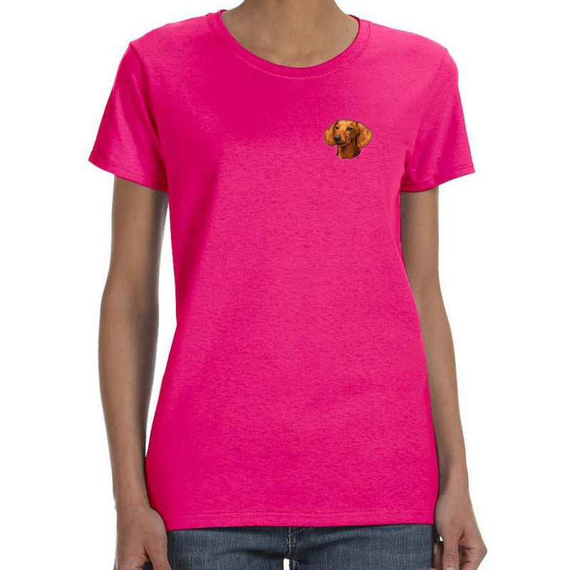 Embroidered Ladies T-Shirts Hot Pink 3X Large Dachshund D29