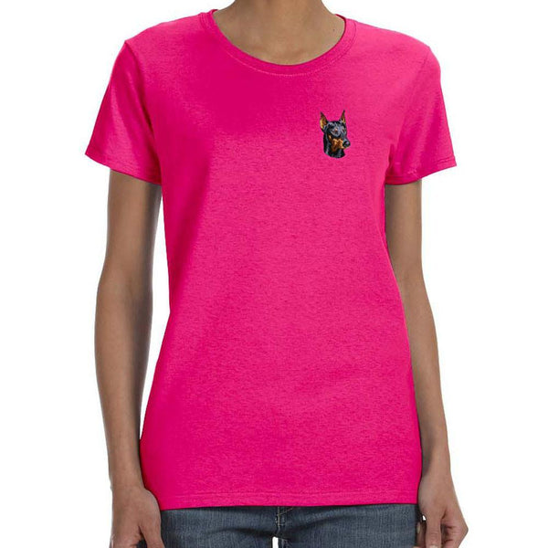 Embroidered Ladies T-Shirts Hot Pink 3X Large Doberman Pinscher DM346