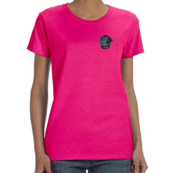 Embroidered Ladies T-Shirts Hot Pink 3X Large Flat Coated Retriever D53