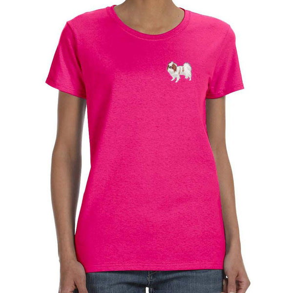 Embroidered Ladies T-Shirts Hot Pink 3X Large Japanese Chin DV213