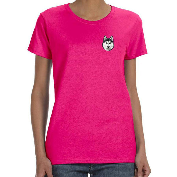 Embroidered Ladies T-Shirts Hot Pink 3X Large Siberian Husky D121