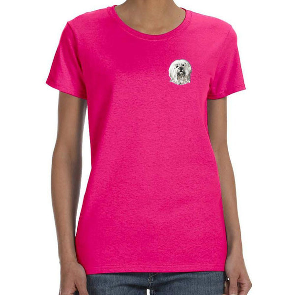 Embroidered Ladies T-Shirts Hot Pink 3X Large Tibetan Terrier DN391