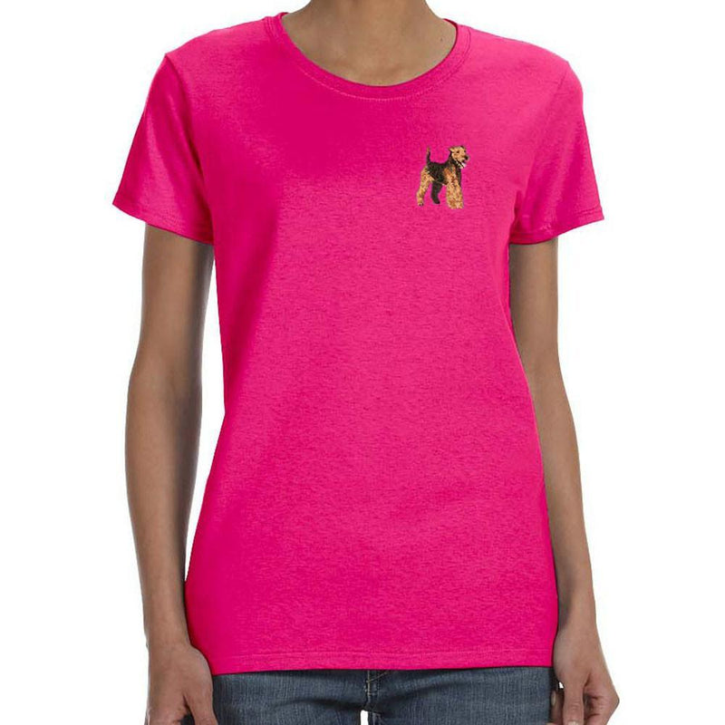 Embroidered Ladies T-Shirts Hot Pink 3X Large Welsh Terrier DJ241