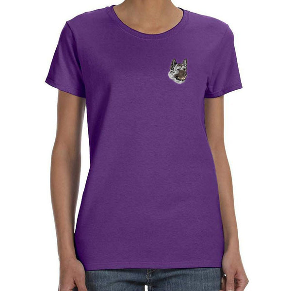Embroidered Ladies T-Shirts Purple 3X Large Akita DJ174