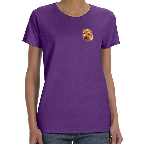 Embroidered Ladies T-Shirts Purple 3X Large Chinese Shar Pei D77
