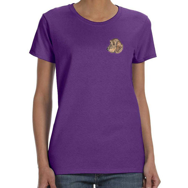 Embroidered Ladies T-Shirts Purple 3X Large Dachshund DJ396