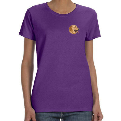 Golden Retriever Embroidered Ladies T-Shirt