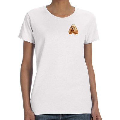 Cocker Spaniel Embroidered Ladies T-Shirts