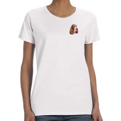 English Springer Spaniel Embroidered Ladies T-Shirts