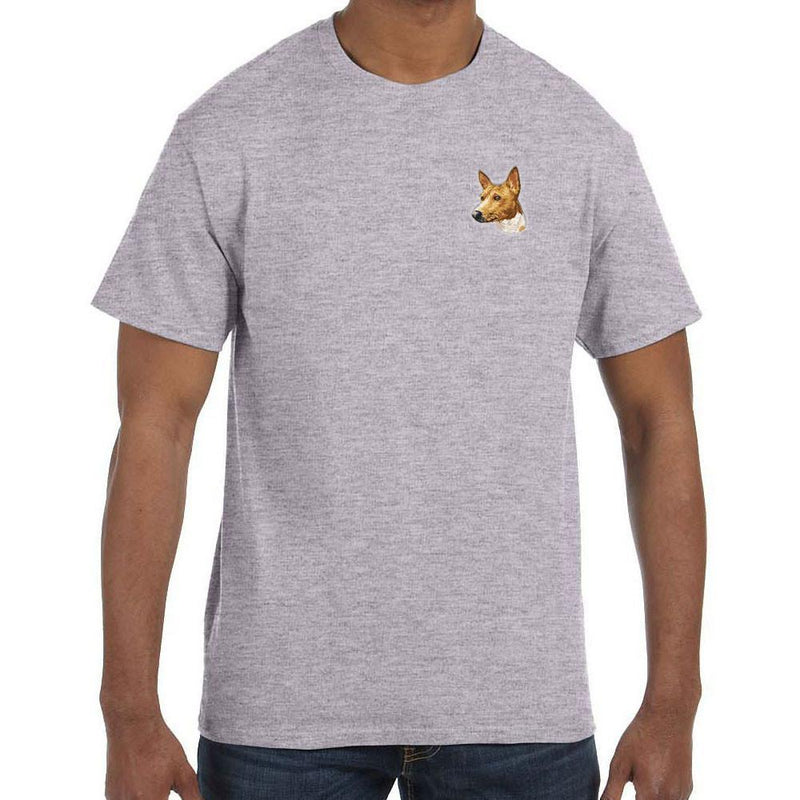 Embroidered Mens T-Shirts Sport Gray 3X Large Basenji DM171