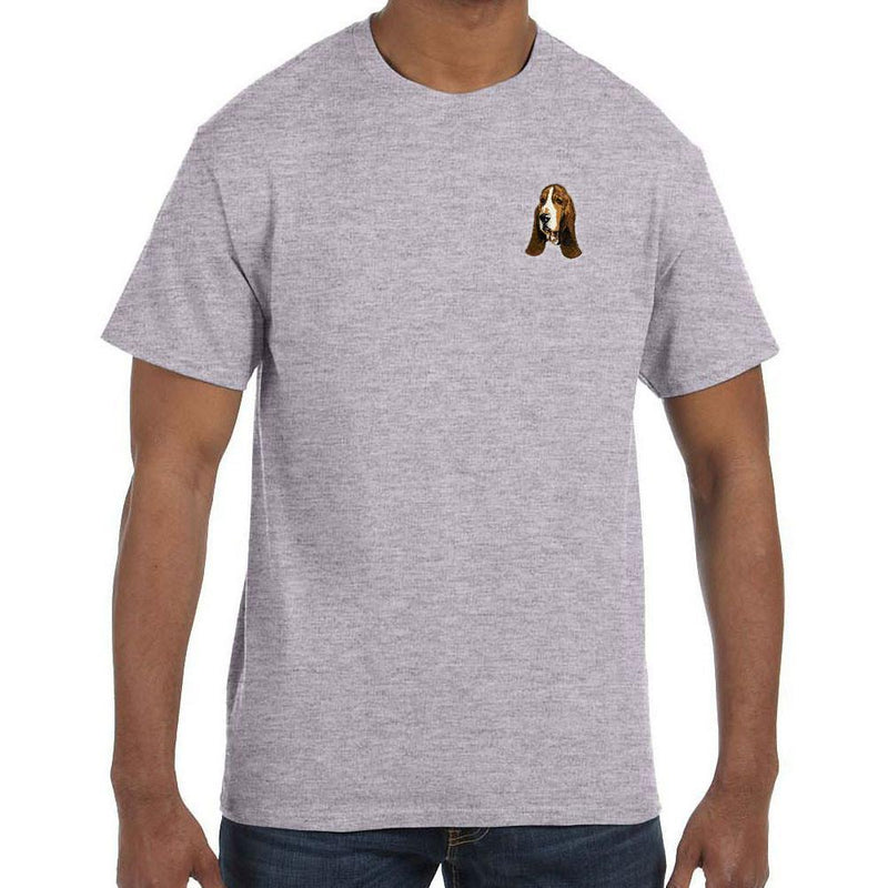 Embroidered Mens T-Shirts Sport Gray 3X Large Basset Hound DJ229