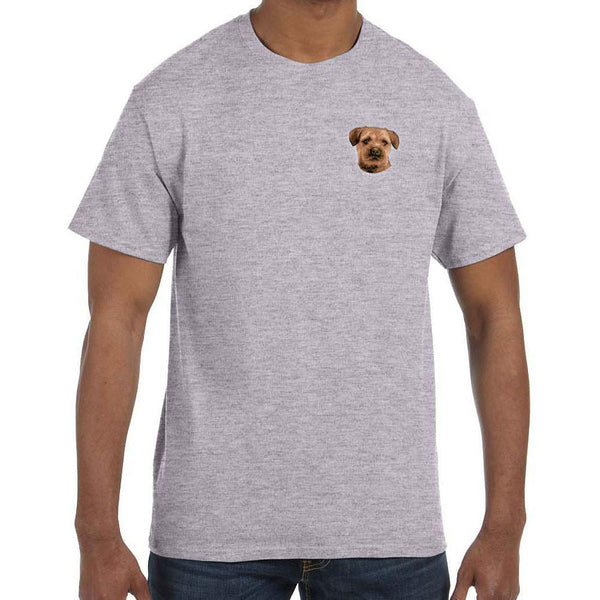 Embroidered Mens T-Shirts Sport Gray 3X Large Border Terrier D51