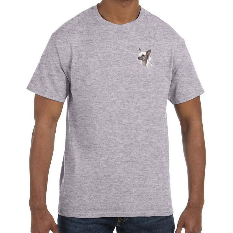 Embroidered Mens T-Shirts Sport Gray 3X Large Chinese Crested D140