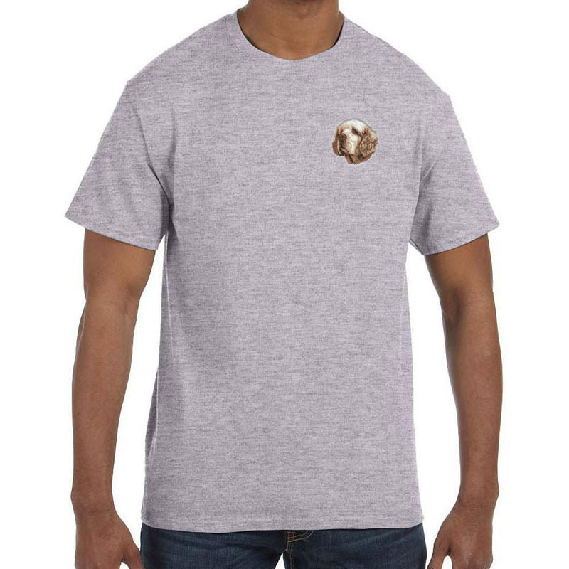 Embroidered Mens T-Shirts Sport Gray 3X Large Clumber Spaniel D46