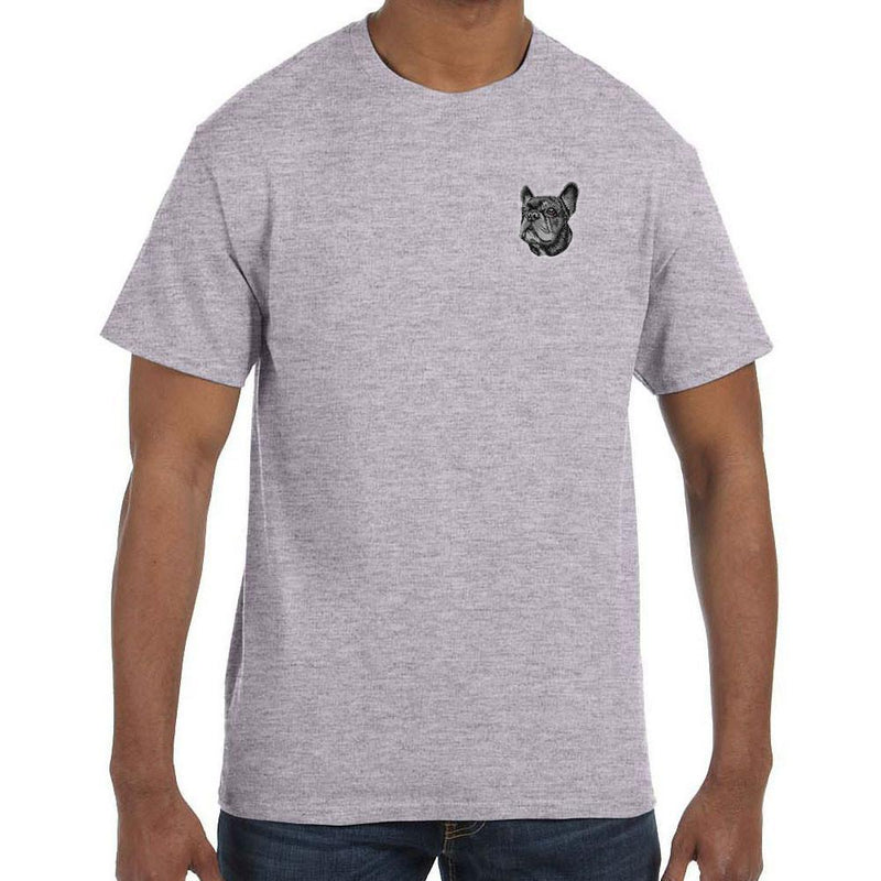 Embroidered Mens T-Shirts Sport Gray 3X Large French Bulldog DV352