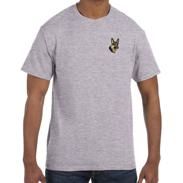 Embroidered Mens T-Shirts Sport Gray 3X Large German Shepherd Dog D70